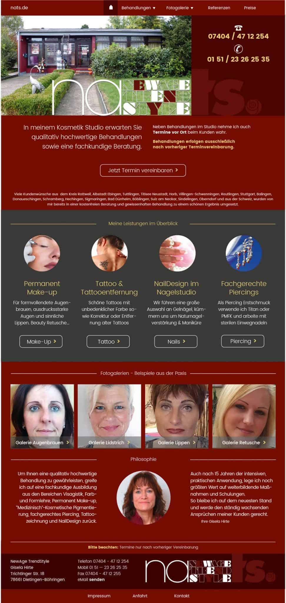 wordpress responsive webdesign kosmetik homepage