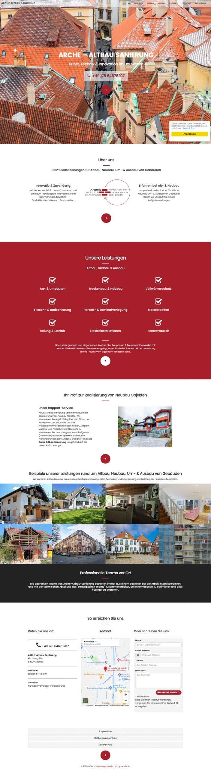 onepager webdesign sanierung rosenheim
